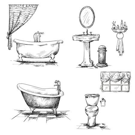 Badkar och badrumsinredning [tecknat]